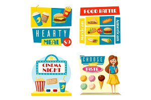 Fast food cinema bar bistro vector flat posters