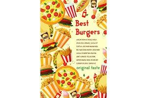 Vector fast food burgers menu poster