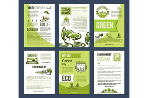Ecology, green city, eco business poster template