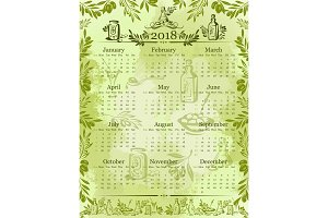 Vector olives olive oil calendar 2018 template