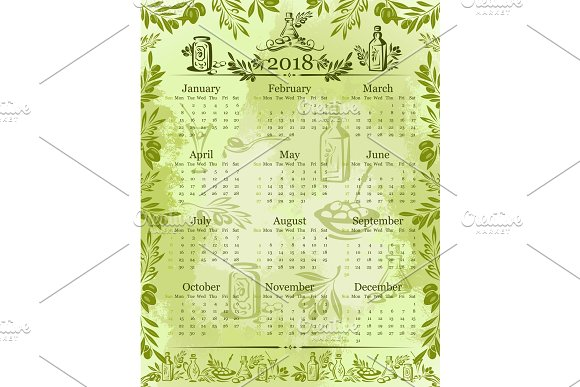 Vector olives olive oil calendar 2018 template