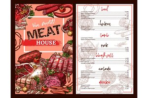 Vector price menu for meat house restaurant sketch
