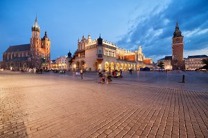 Krakow Old Town Square At Dusk