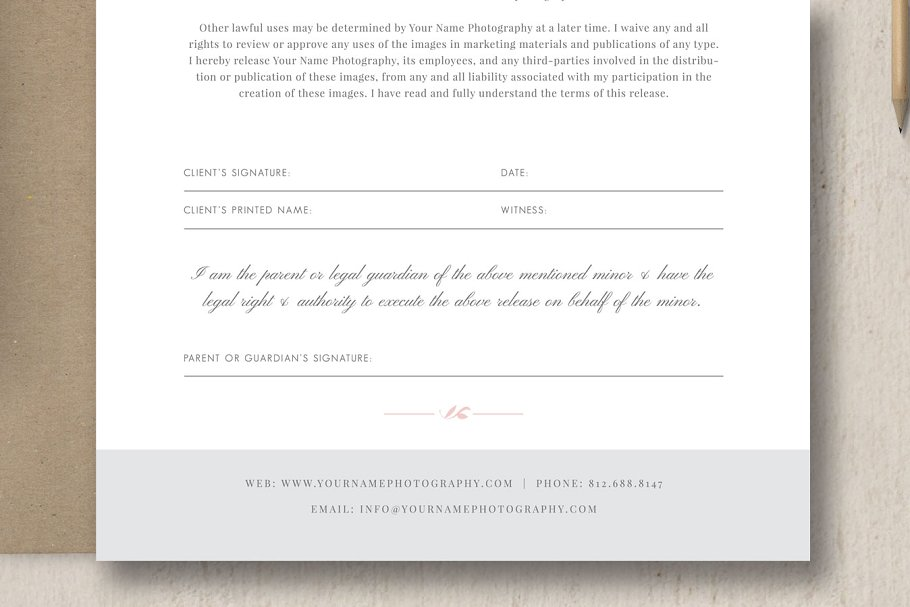 Photography Model Release Form - Stationery Templates   Creative ...
