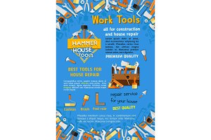 Vector poster of house repair work tools