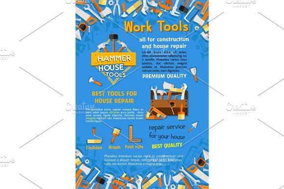 Vector Poster Of House Repair Work Tools
