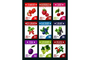 Vector berry shop or fruit market price cards
