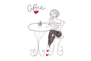 Vector hand drawn woman with coffee illustration