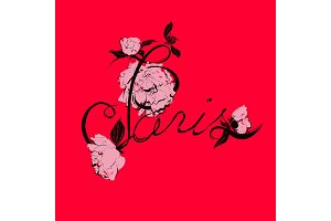 Vector handwritten Paris calligraphy with peony flowers