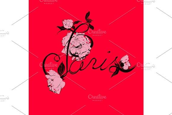 Vector handwritten Paris calligraphy with peony flowers