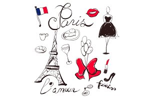 Vector hand drawn set of France and Paris symbols