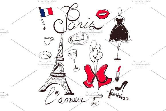 Vector Hand Drawn Set Of France And Paris Symbols