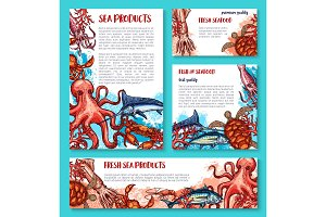 Vector seafood poster of sketch fresh fish