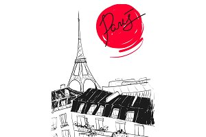 Vector hand drawn illustration with Eiffel tower, roofs and Paris calligraphy