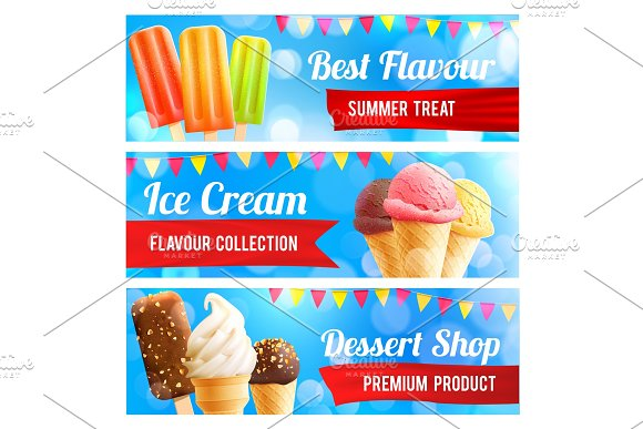 Ice Cream Chocolate And Vanilla Dessert 3D Banner
