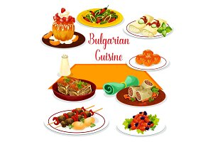 Bulgarian cuisine icon of lunch with dessert