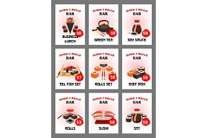 Sushi menu card for japanese cuisine restaurant
