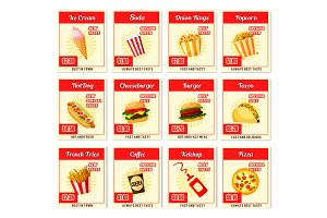 Vector fast food restaurant menu price cards