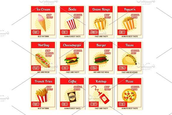 Vector Fast Food Restaurant Menu Price Cards