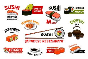 Japanese restaurant sushi menu vector icons
