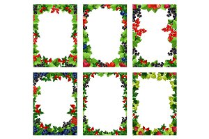 Vector berry or fruit posters templates