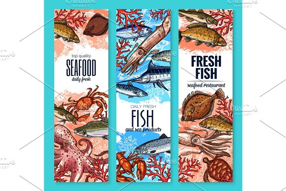 Vector Banners Fresh Seafood Fish Product Sketch