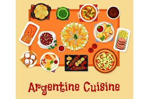 Argentinian cuisine lunch icon, food design