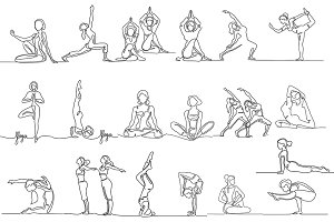 Yoga bundle (continuous line icon)