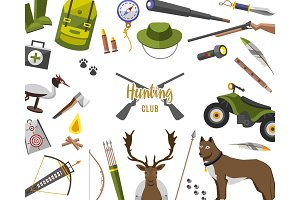 camping trip equipment collection. accessories and base camp. hike outdoor adventure elements. tourism, engraved hand drawn in old sketch, vintage style. backpack and lantern, tent and deer and gun.