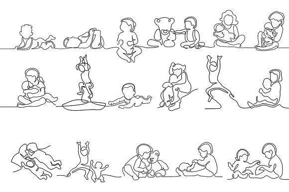 Bundle baby icon (continuous line)