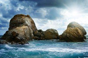 Sea landscape with rock