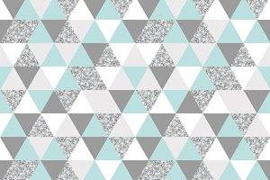 silver, mint and white triangles grid texture