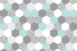 silver, mint and white hexagon grid texture