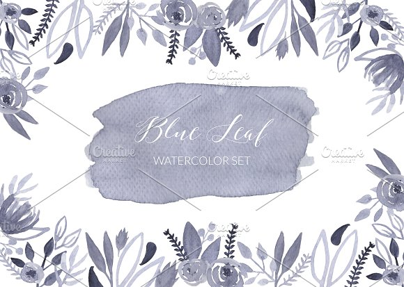 Blue Leaf Watercolor Set