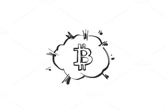 Bitcoin Comic Boom Bubbles Bursting Sketching Illustration