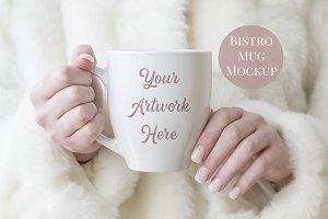 Mug Mockup- Woman holding bistro mug