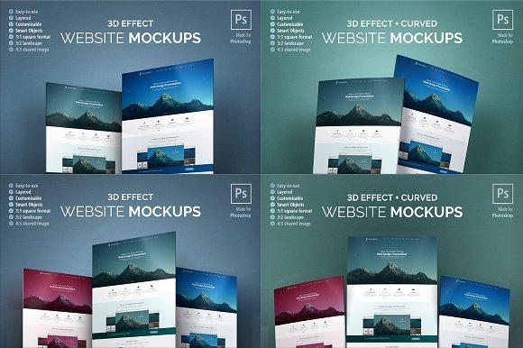 Website Mockups Bundle - 3D & Curved in Product Mockups - product preview 1