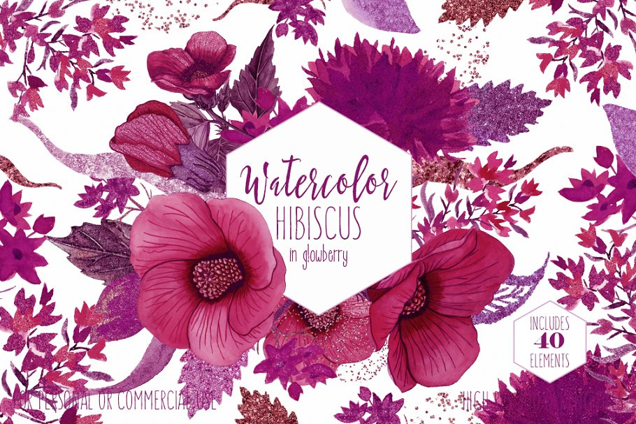 Wine Pink Tropical Floral Graphics in Illustrations