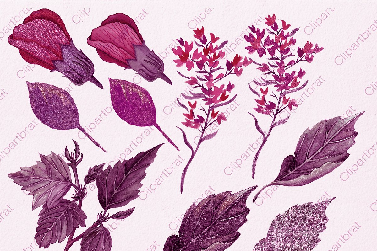Wine Pink Tropical Floral Graphics in Illustrations - product preview 3