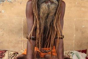 Hindu priest performs the Ganga Aarti ritual