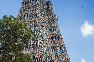 Colorful tower of Meenakshi Amman Temple