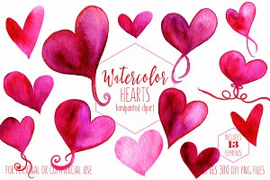 Hand Painted Watercolor Hearts