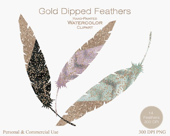 Rose Gold Dipped Feathers in Illustrations - product preview 1