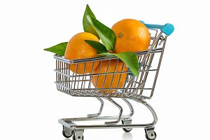 Supermarket carts with mandarins.