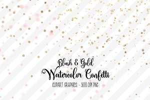 Blush and Gold Watercolor Confetti