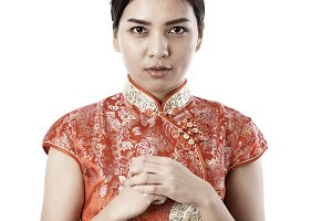 woman wear cheongsam chinese new yea