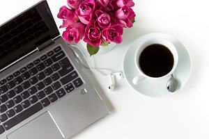 Laptop & Pink Roses Stock Photo