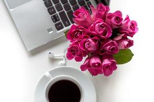 Pink Roses/Laptop Stock Photo