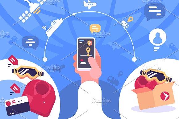 Tracking order parcel on smartphone in Illustrations