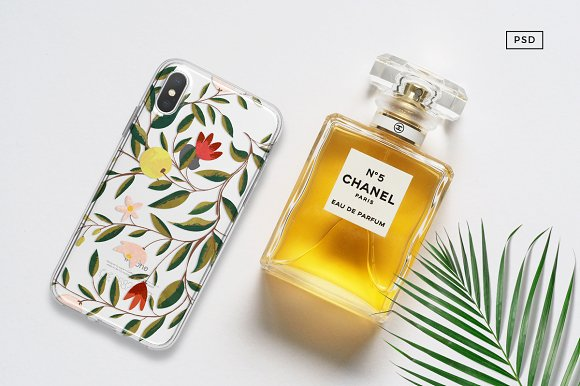iPhone X Mock Up With Chanel Bottle